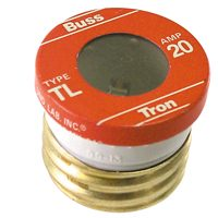 Bussmann TL Time Delay Medium Duty Low Voltage Plug Fuse, 20 A, 125 VAC, 10 kA