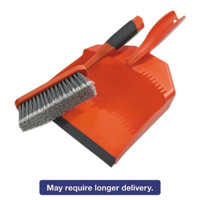 "Dust Pan & Brush Set, Plastic, 9 1/2"" Wide, 6 1/2"" Handle, Orange, 3/Box"