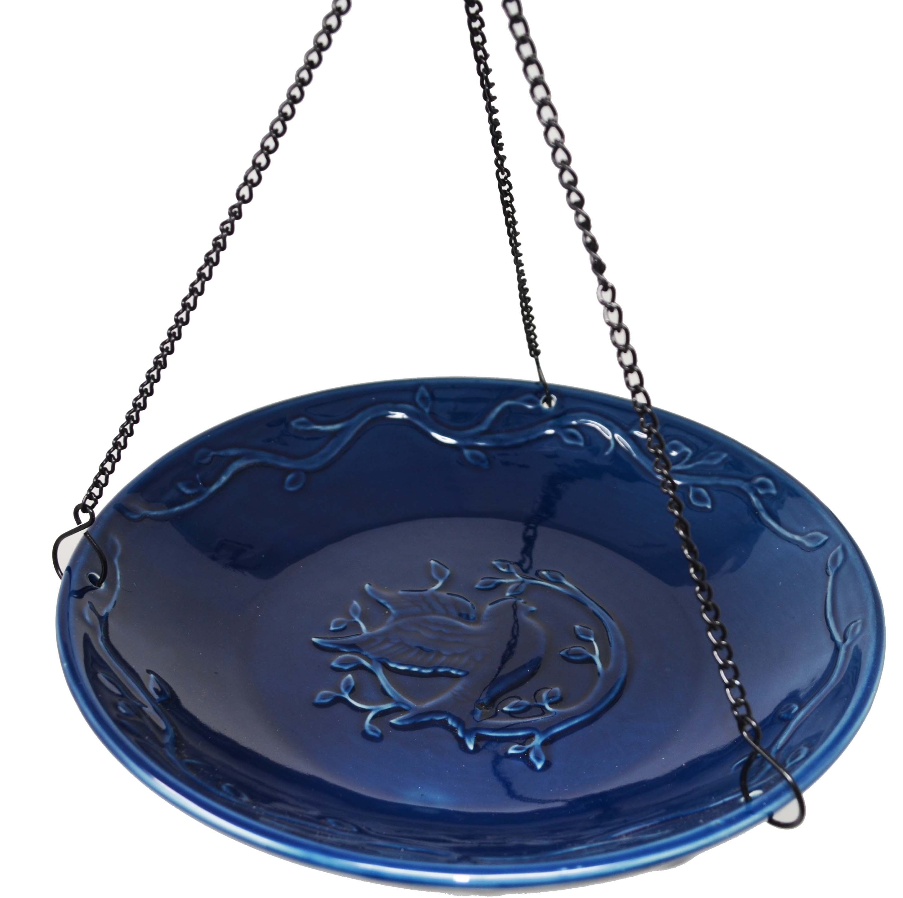 Bluebird Ceramic Hanging Birdbath