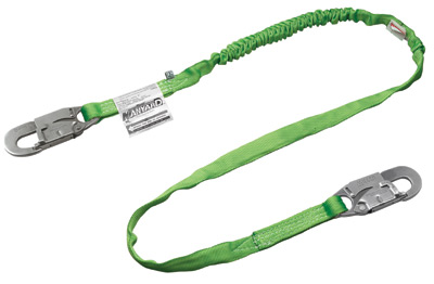 Miller+ 6' Green Two Leg Manyard HP+ Shock-Absorbing Stretachable Web Lanyard With 2 Locking Snap Hooks
