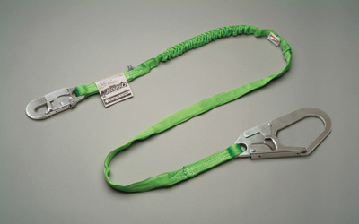 "Miller+ 6' Green Manyard HP+ Shock-Absorbing Web Lanyard With Locking Snap Hook And 2 1/2"" Locking Rebar Hook"