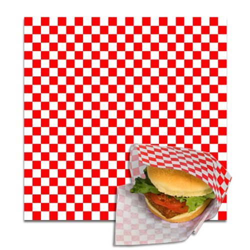 12 x 12 Grease-Resistant Red Check Paper Sheets, 5,000 sheets