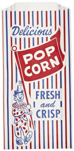 Pinch-Bottom Paper Popcorn Bag, 4w x 1-1/2d x 8h, Blue/Red/White, 1000/Carton