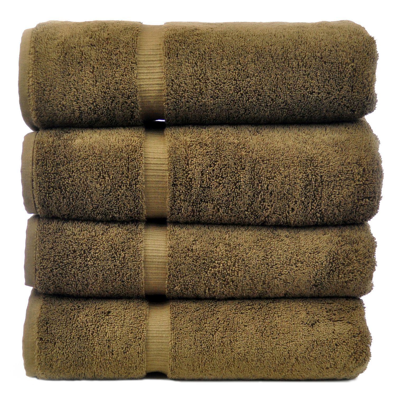 Luxury Hotel & Spa Towel 100% Genuine Turkish Cotton Bath Towels - Cocoa - Dobby Border  - Set of 4