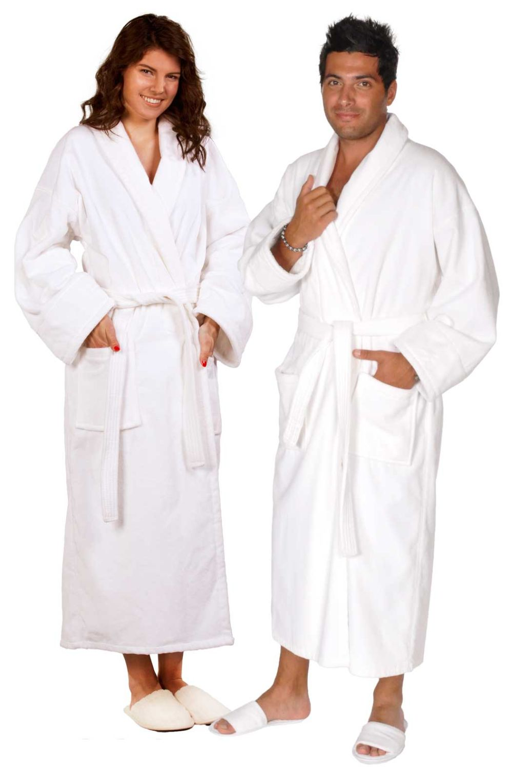 100% Turkish Cotton Adult Terry Velour Shawl Robe - White - Adult - XXLarge