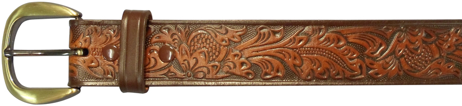 "32""BROWN EMBOSSED BELT, FLORAL"