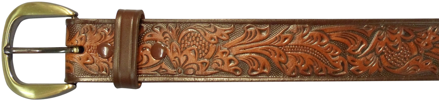 "38""BROWN EMBOSSED BELT, FLORAL"