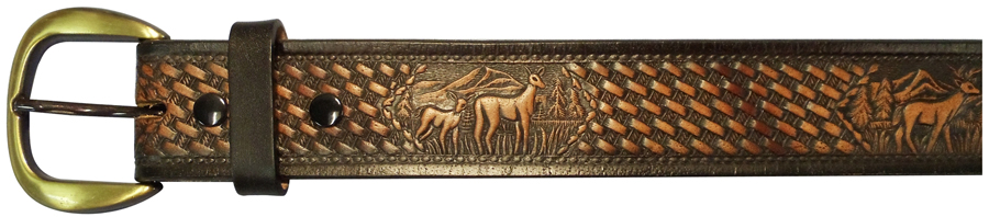 "34""BLACK EMBOSSED DEER BELT"