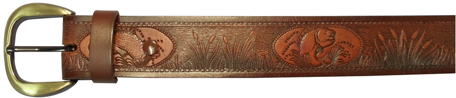 "34""BROWN EMBOSSED BELT,FISH"