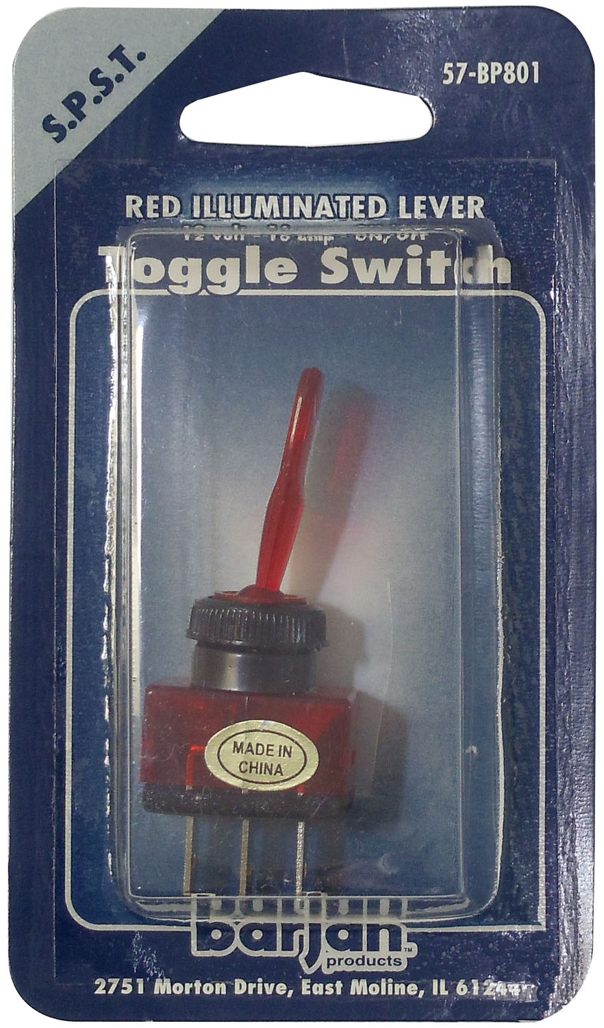 SPST RED LIGHTED TOGGLE SWITCH 12V/16AMP