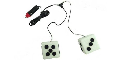 WHITE 12V HANGING LIGHTED DICE