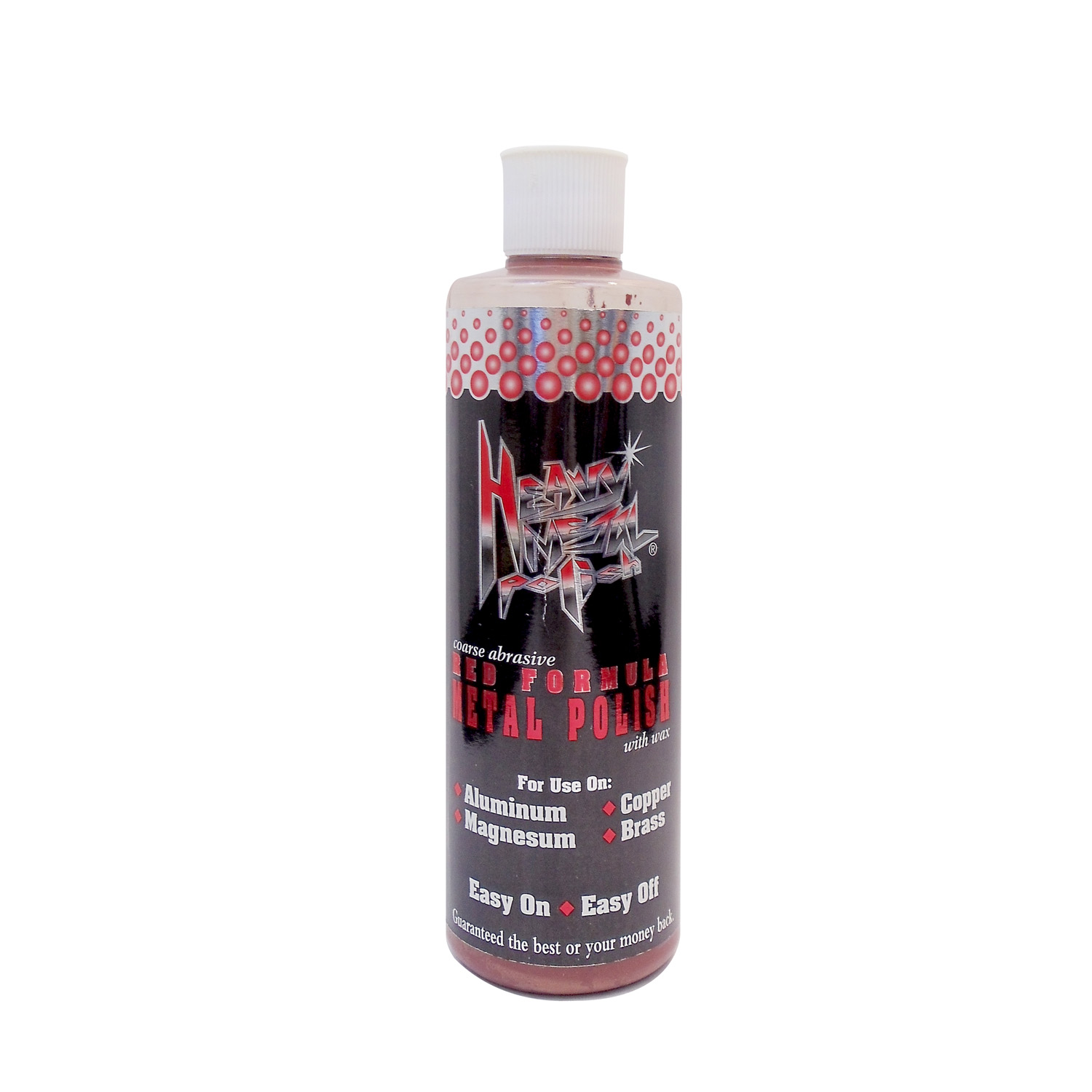 16 OUNCE BOTTLE OF HEAVY METAL POLISH - RED FORMULA FOR USE ON ALUMINUM, MAGNESIUM, COPPER & BRASS