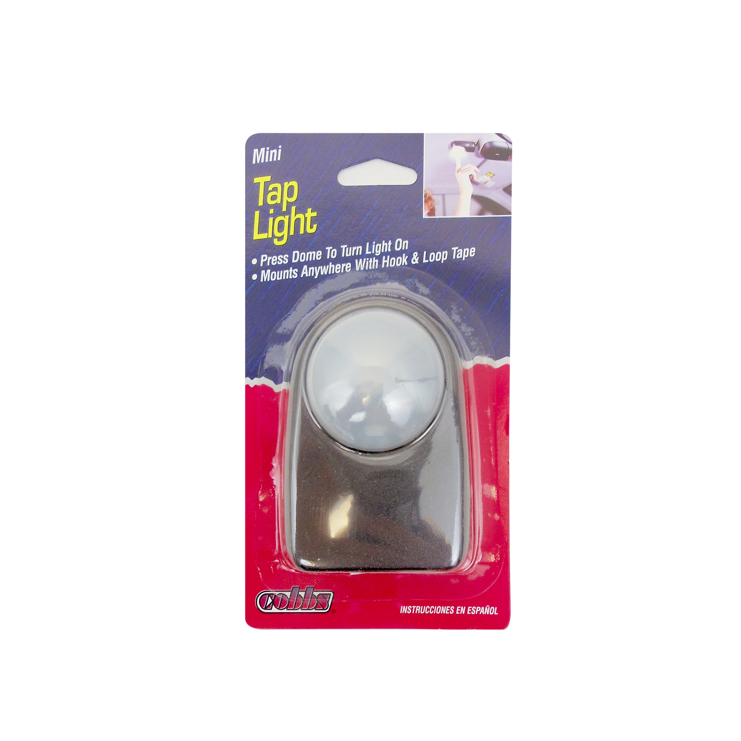 COBBS - MINI TAP LIGHT - PRESS DOME TO TURN ON & OFF, MOUNTS WITH HOOK & LOOP TAPE