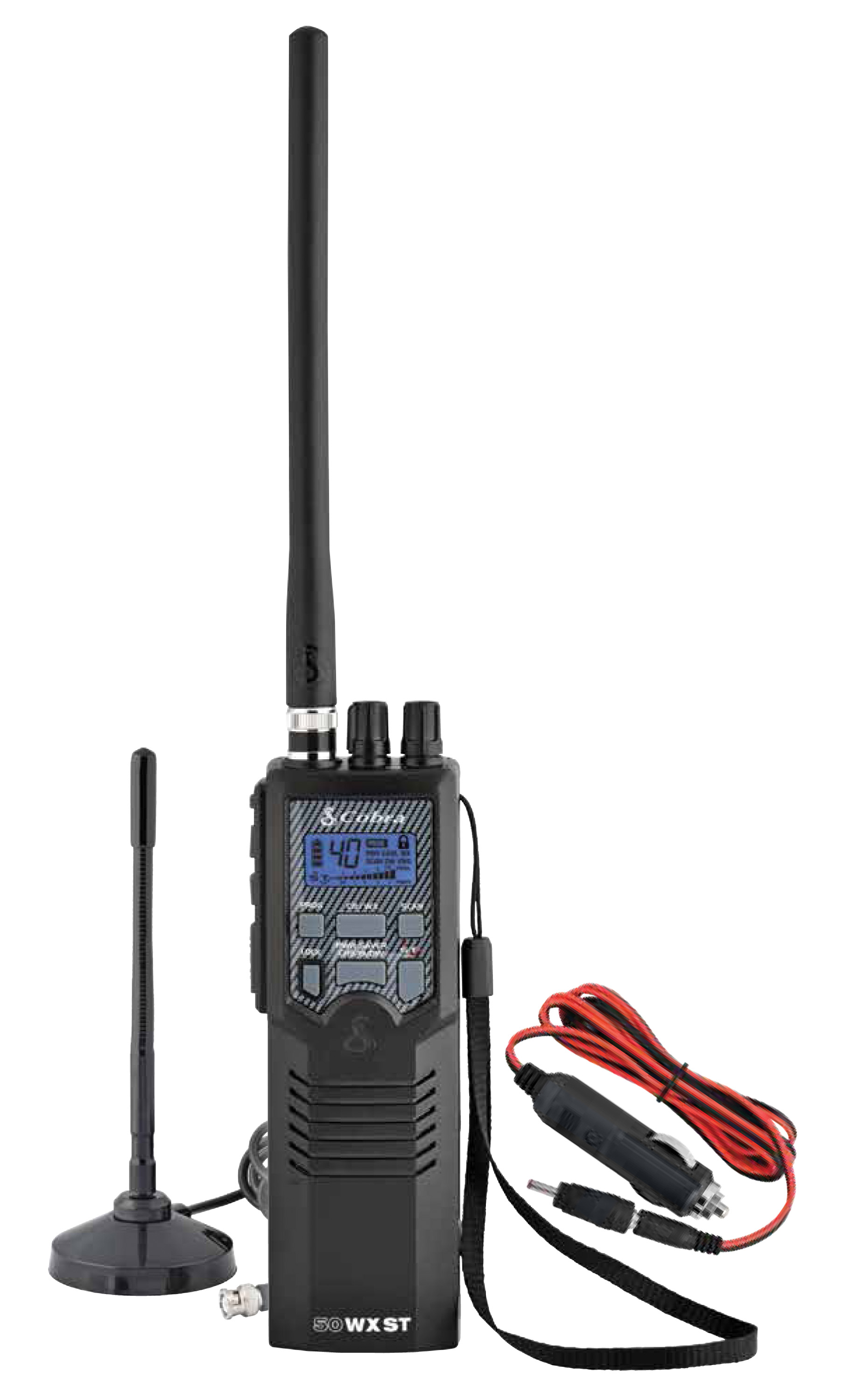 COBRA - HH50WXST HANDHELD CB RADIO WITH NOAA WEATHER, MAGNETIC MOUNT ANTENNA & DC CIGARETTE POWER CORD