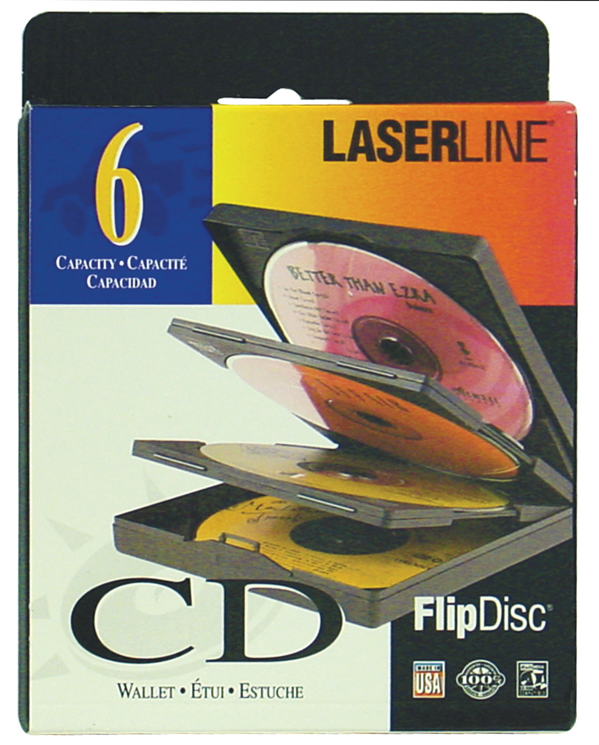LASERLINE - 6 CAPACITY CD FLIP DISC CASE MADE WITH HIGH IMPACT PLASTIC PROTECTS MUSIC FROM DAMAGE & SUN