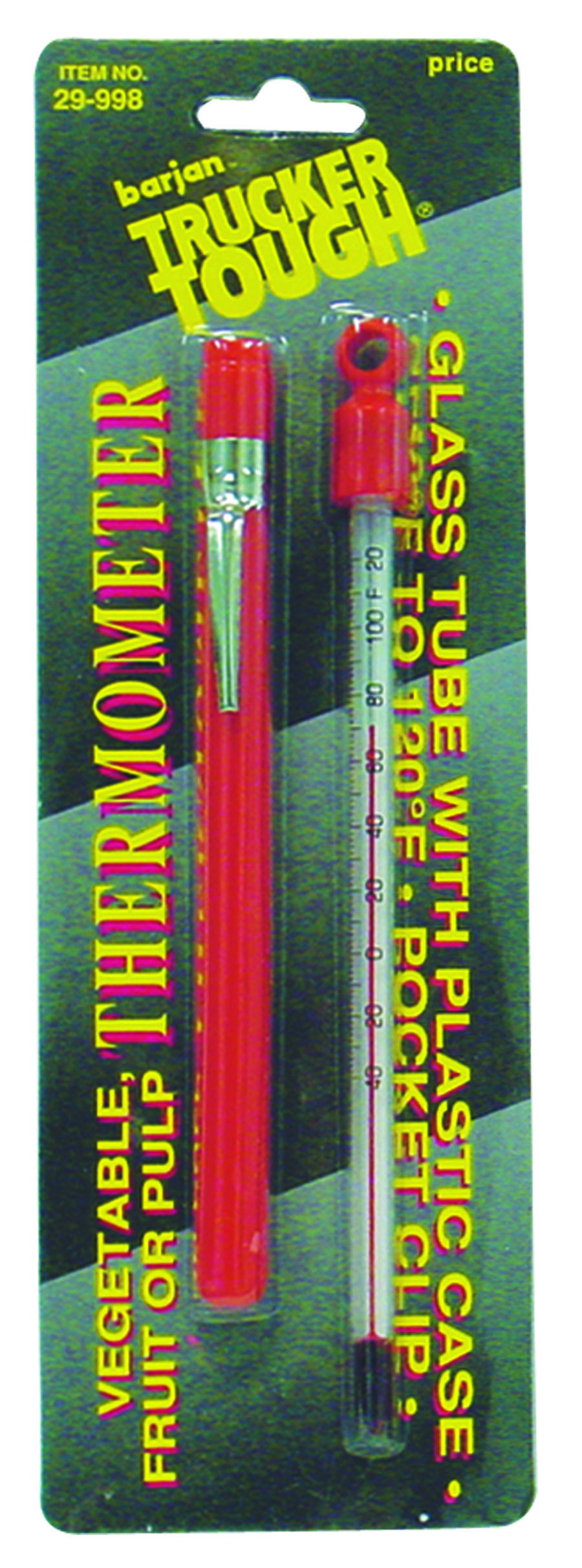 "BARJAN - 6"" GLASS TUBE VEGETABLE & FRUIT THERMOMETER WITH HANDY POCKET CLIP. MEASURES -40 DEGREES TO +120F"