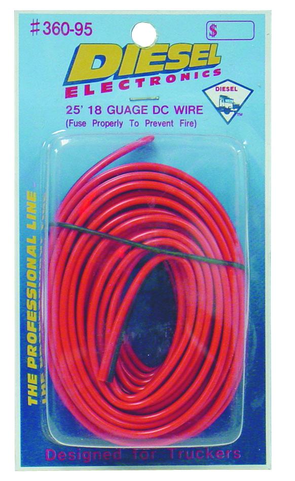 25' 18 GUAGE DC RED/BLACK POWER WIRE (DIESEL)