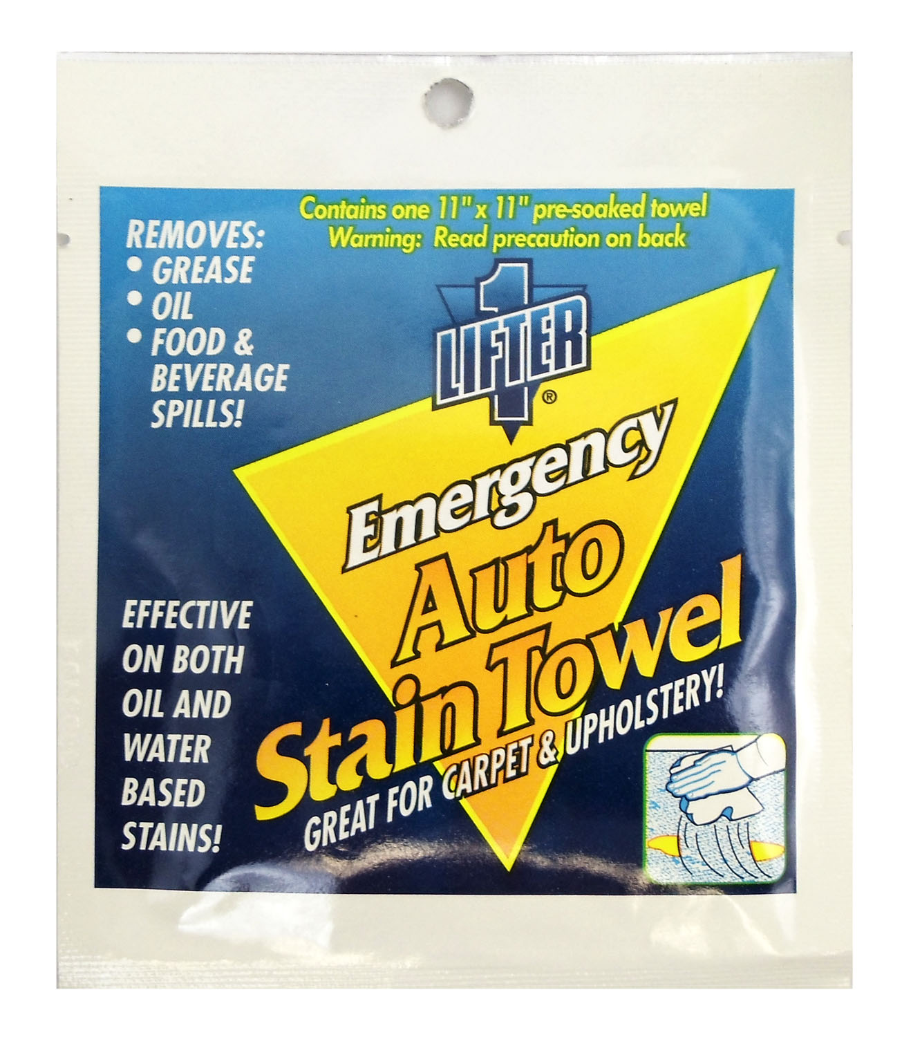 "LIFTER 1 - 11"" X 11"" EMERGENCY AUTO STAIN LIFTER TOWELETTE FOR GREASE, OIL, FOOD & BEVERAGE SPILLS ON CARPET & UPHOLSTERY"