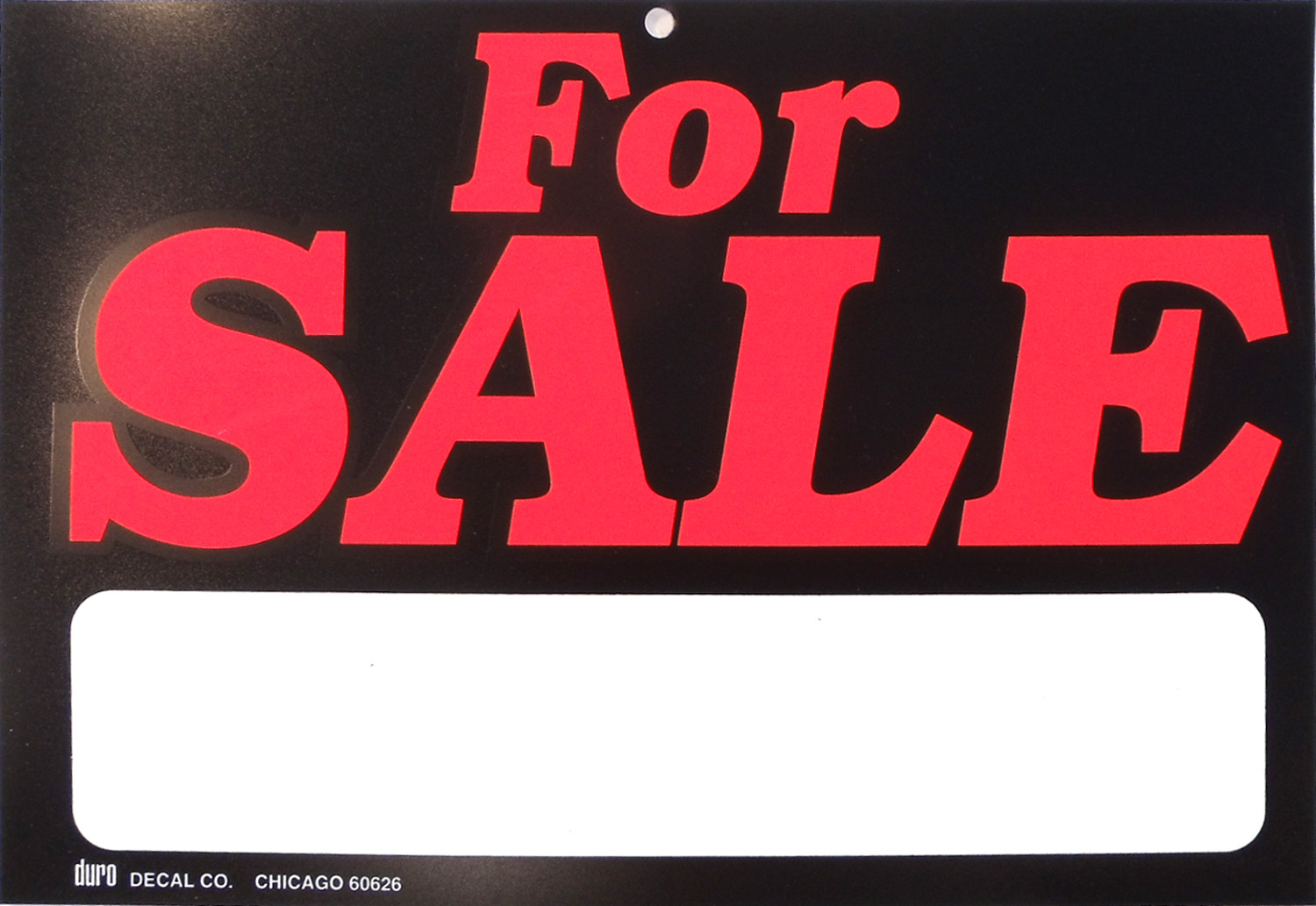 "DURO 11-1/2"" X 8"" PLASTIC FOR SALE SIGN WITH BLANK MARKER AREA"