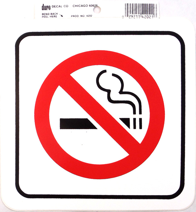 "6"" X 6"" NO SMOKING DECAL , 12/CARD"