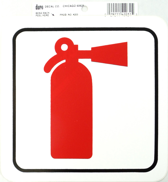 "6"" X 6"" FIRE EXTINGUISHER DECAL,12/CARD"