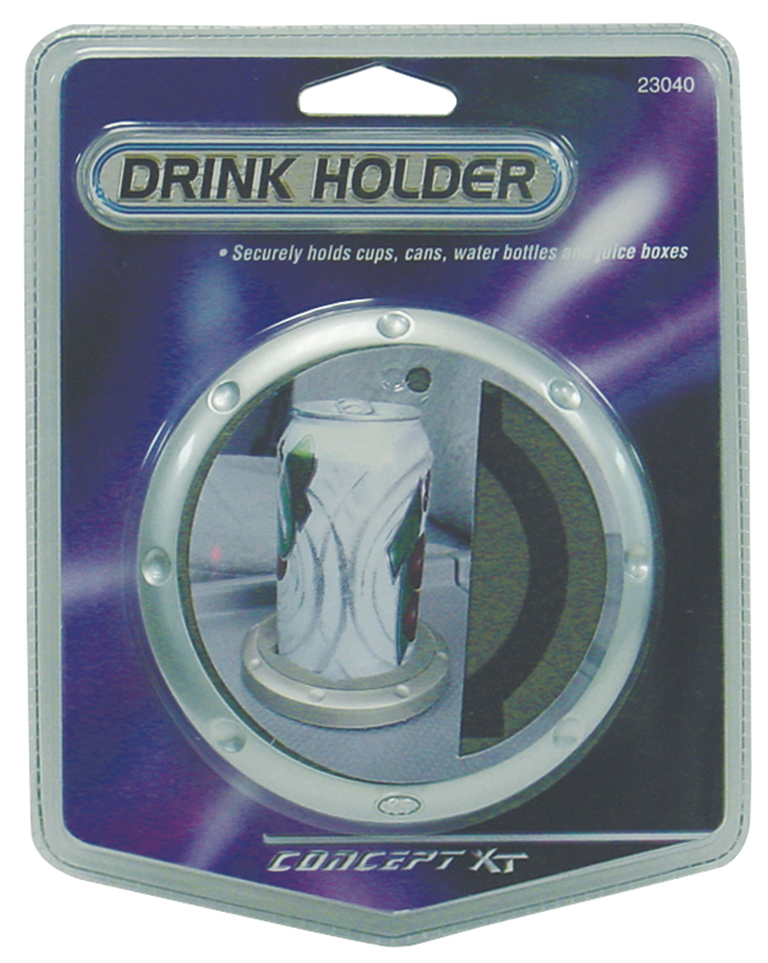 CONCEPT XT - STICK ON DRINK HOLDER SECURELY HOLDS CUPS, CANS, BOTTLES & JUICE BOXES, ATTACHES TO ANY FLAT SURFACE