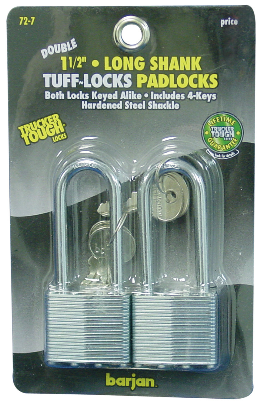 "1-1/2"" SHANK PADLOCKS W/KEYS 2PK"