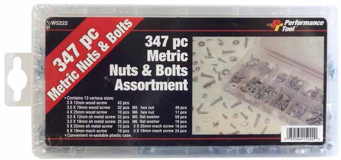 347 PIECE METRIC NUT & BOLT ASSORTMENT
