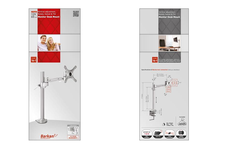 Barkan 4-Movement Vertical, Rotate, Swivel & Tilt Desk Mount, up to 24-inch Monitors