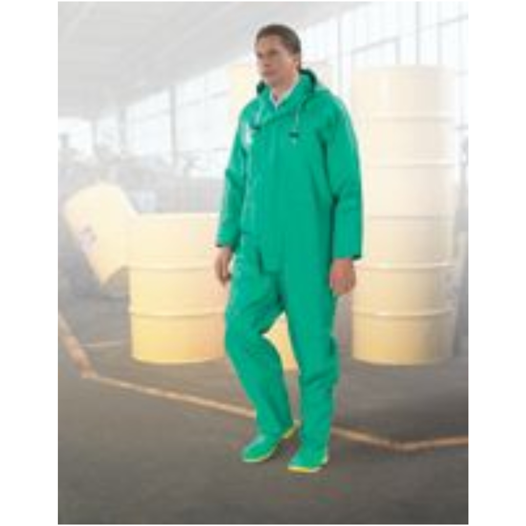 Bata/Onguard Large Green Chemtex .35MM PVC On Nylon Polyester Coverall With Attached Hood And Inner Cuffs