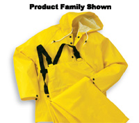Bata/Onguard 3X Yellow Webtex .65mm Ribbed PVC On Polyester Webtex Rain Jacket With Storm Front Closure And Attached Hood