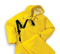 Bata/Onguard Large Yellow Webtex .65MM Ribbed PVC On Non-Woven Polyester 3 Peice Rainsuit With Storm Flap Front Jacket Closure C