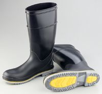"""Bata/Onguard Size 10 16"""" Black/Yellow/Gray Flex 3 PVC Steel Toe Boots With Power-Lug Outsole"""