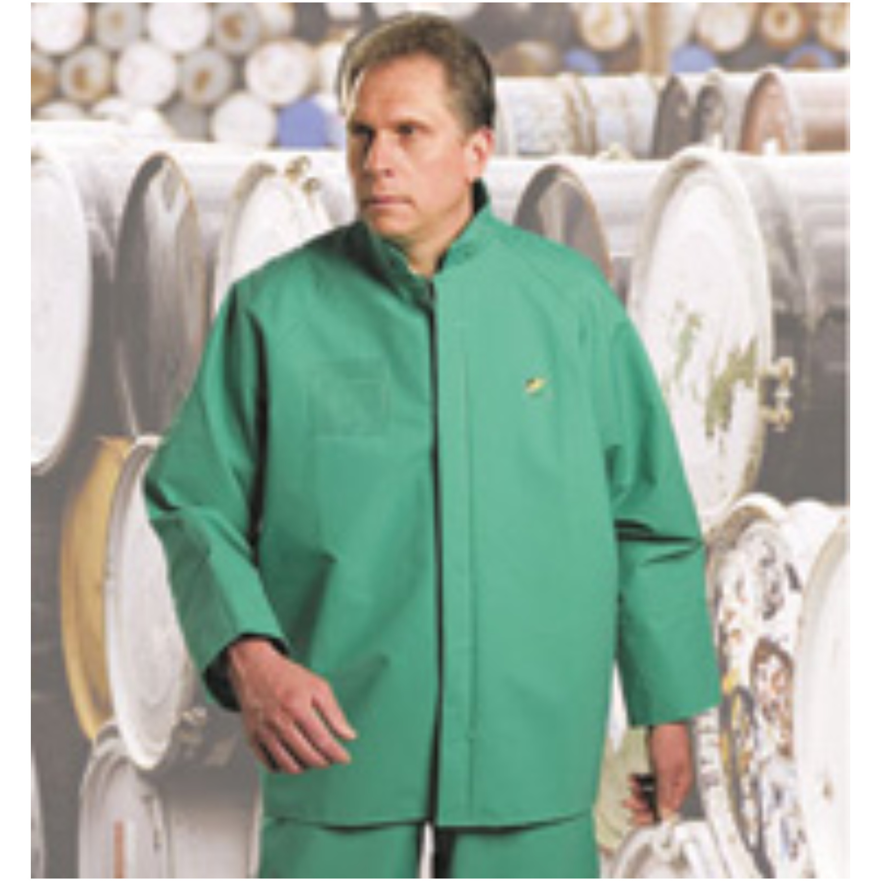 Bata/Onguard Large Green Chemtex 3.5 mil PVC On Nylon Polyester Chemical Protection Jacket With Storm Flap Over Front Zipper Clo