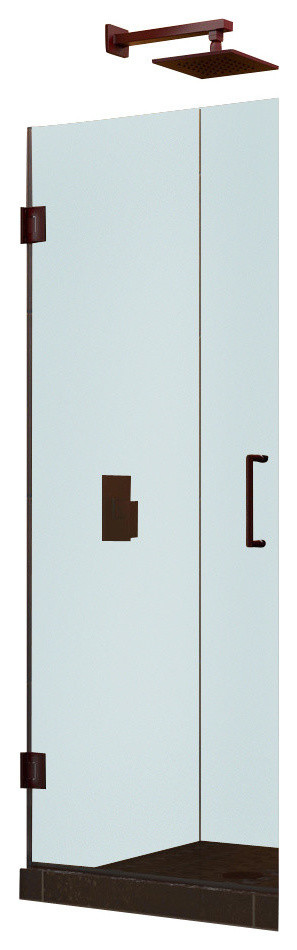 "Unidoor 24"" Frameless Hinged Shower Door, Clear 3/8"" Glass Door, Brushed Nickel"