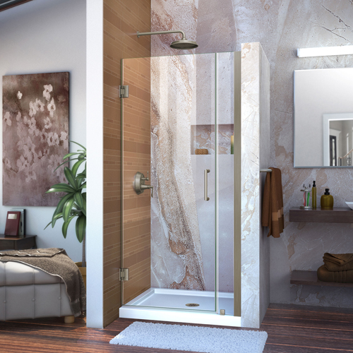 "Unidoor 33 to 34"" Frameless Hinged Shower Door, Clear 3/8"" Glass Door, Brushed Nickel"