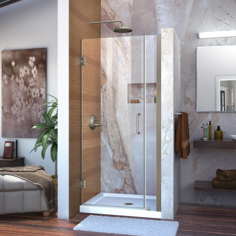 """Unidoor 36 to 37"""" Frameless Hinged Shower Door, Clear 3/8"""" Glass Door, Chrome"""