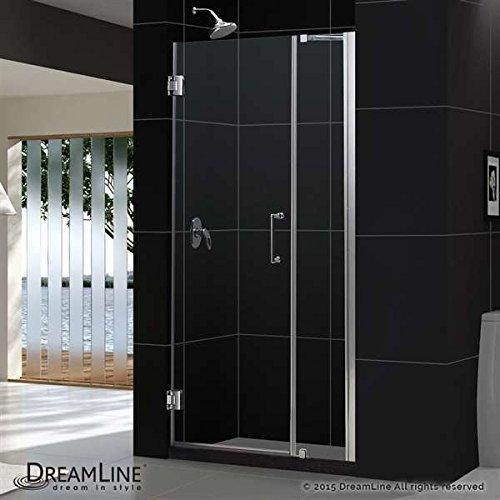 """Unidoor 37 to 38"""" Frameless Hinged Shower Door, Clear 3/8"""" Glass Door, Chrome"""