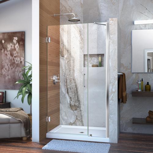 """Unidoor 38 to 39"""" Frameless Hinged Shower Door, Clear 3/8"""" Glass Door, Chrome"""