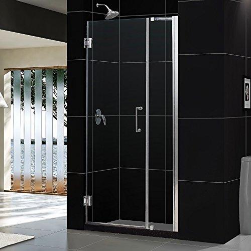 """Unidoor 41 to 42"""" Frameless Hinged Shower Door, Clear 3/8"""" Glass Door, Brushed Nickel"""
