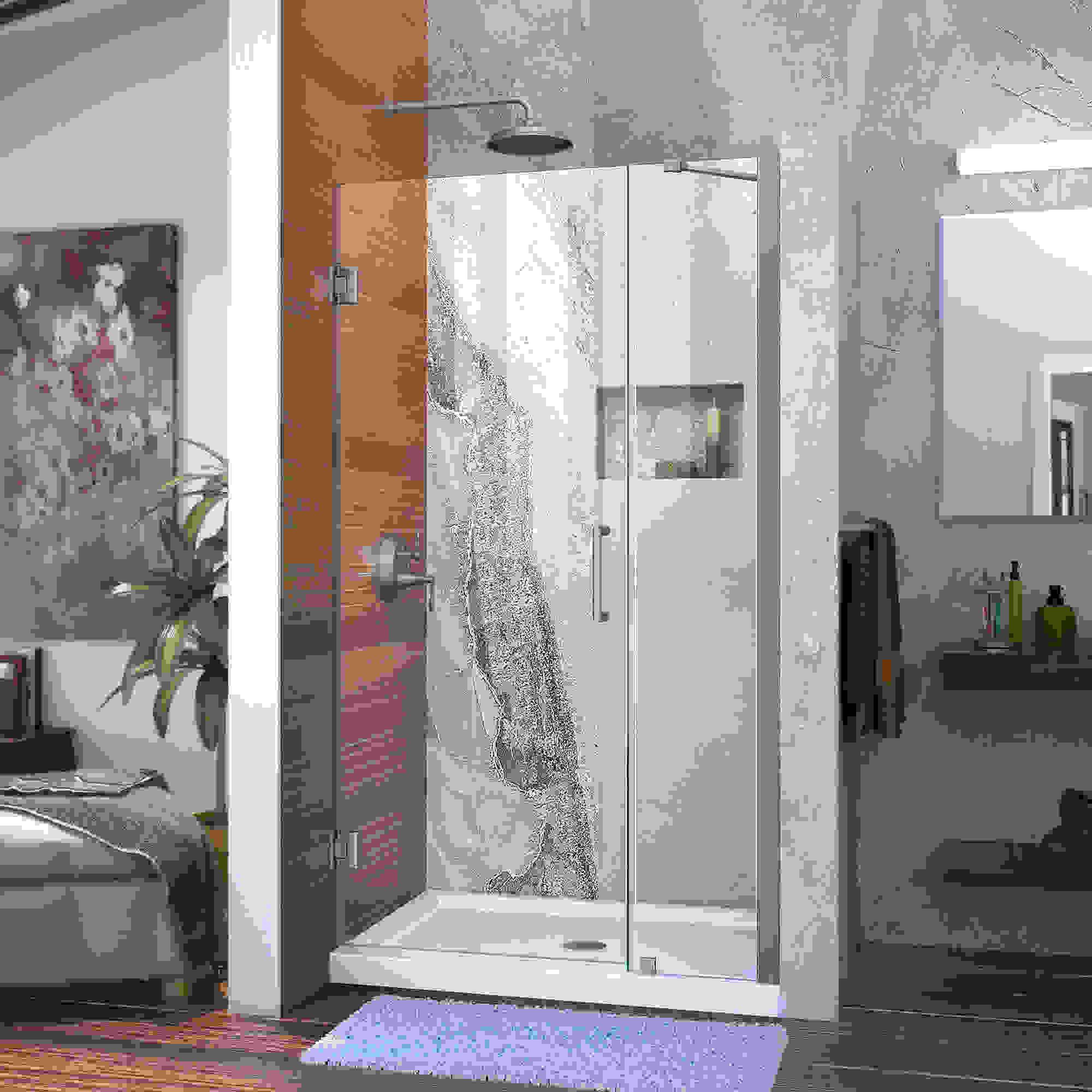"""Unidoor 42 to 43"""" Frameless Hinged Shower Door, Clear 3/8"""" Glass Door, Chrome"""