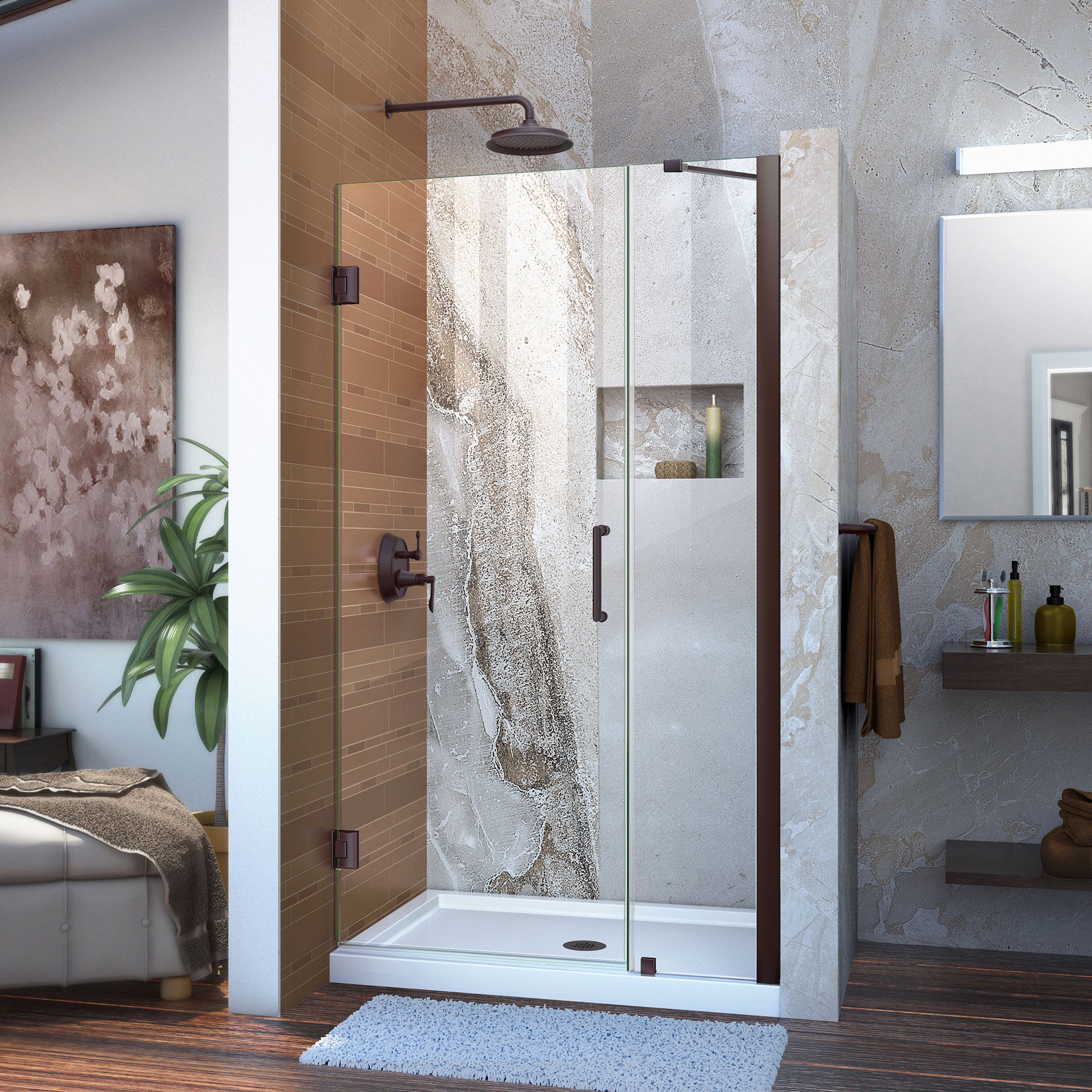 """Unidoor 42 to 43"""" Frameless Hinged Shower Door, Clear 3/8"""" Glass Door, Brushed Nickel"""