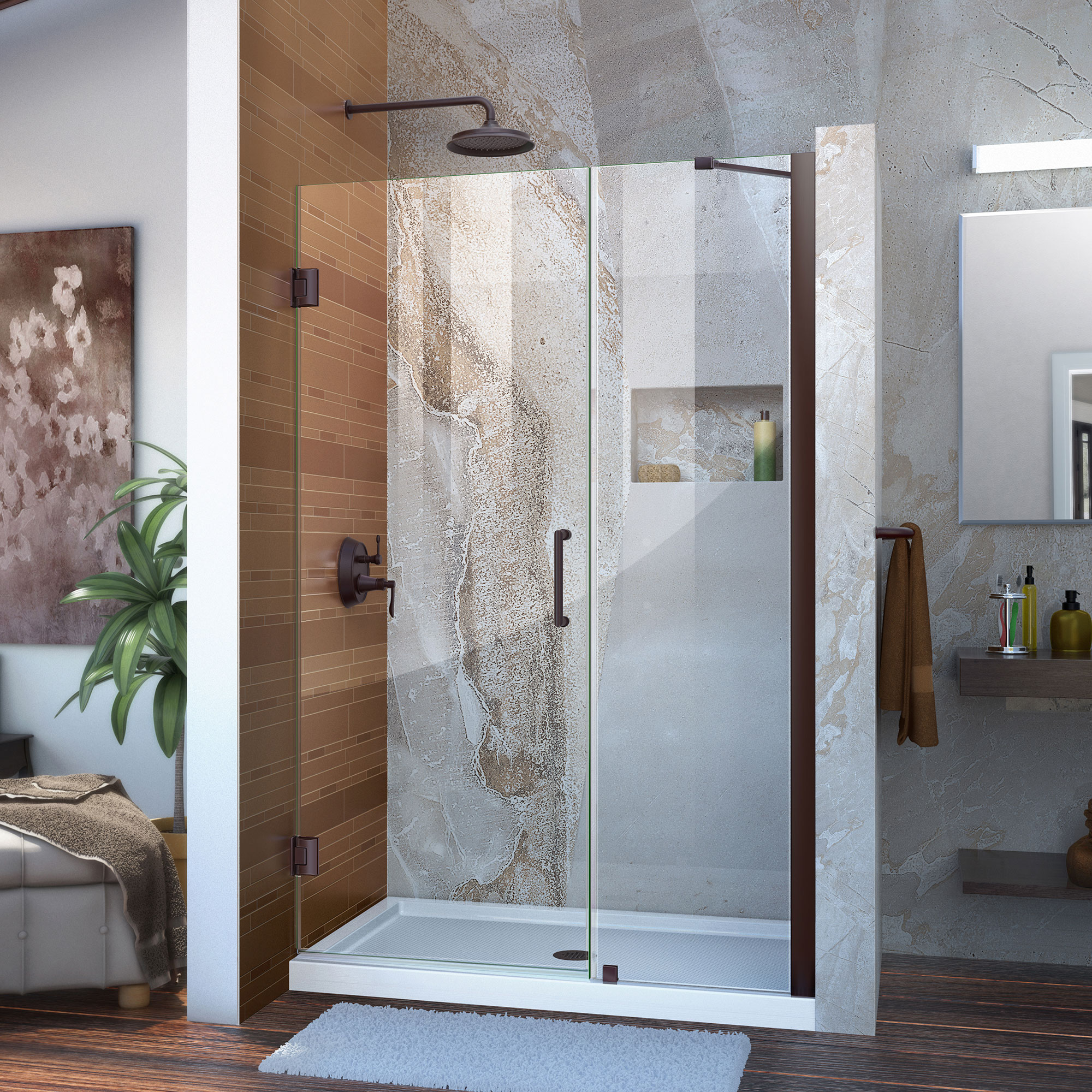 "Unidoor 43 to 44"" Frameless Hinged Shower Door, Clear 3/8"" Glass Door, Brushed Nickel"