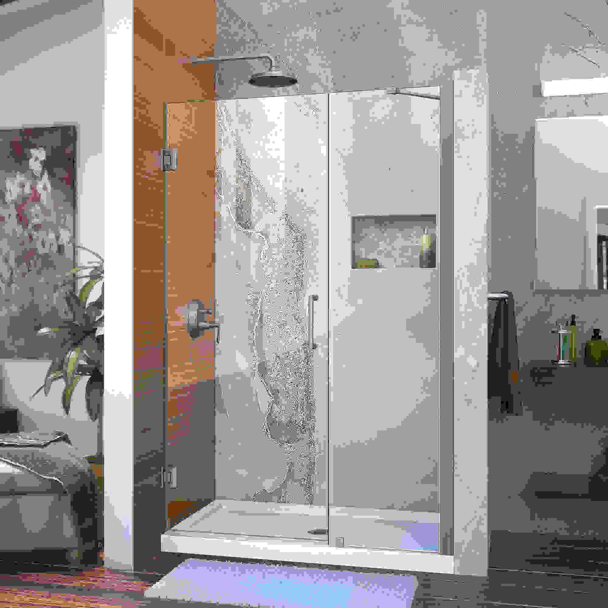 """Unidoor 44 to 45"""" Frameless Hinged Shower Door, Clear 3/8"""" Glass Door, Chrome"""