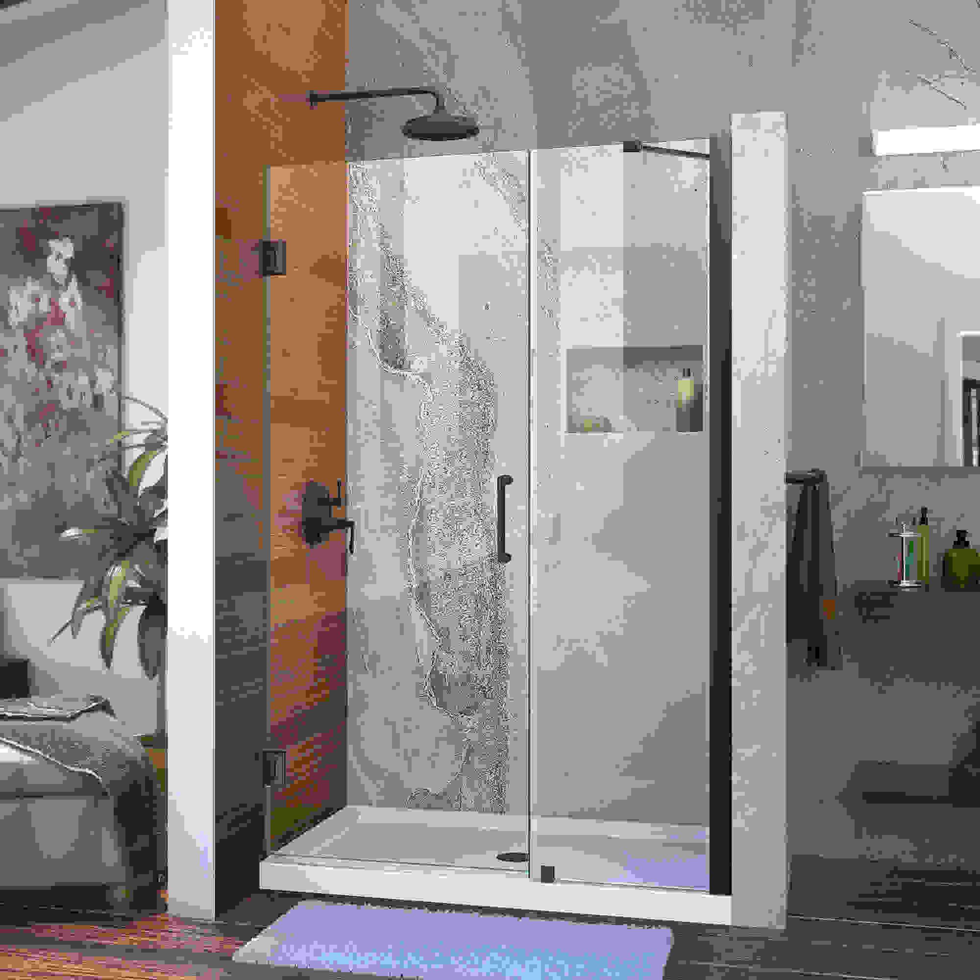"""Unidoor 45 to 46"""" Frameless Hinged Shower Door, Clear 3/8"""" Glass Door, Brushed Nickel"""