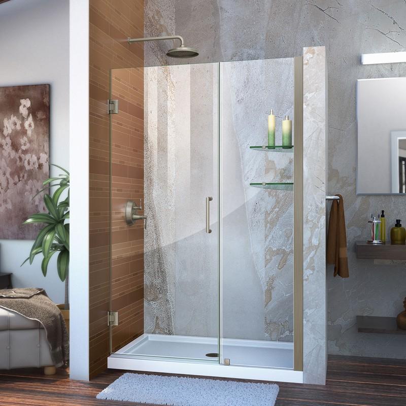 """Unidoor 46 to 47"""" Frameless Hinged Shower Door, Clear 3/8"""" Glass Door, Chrome"""