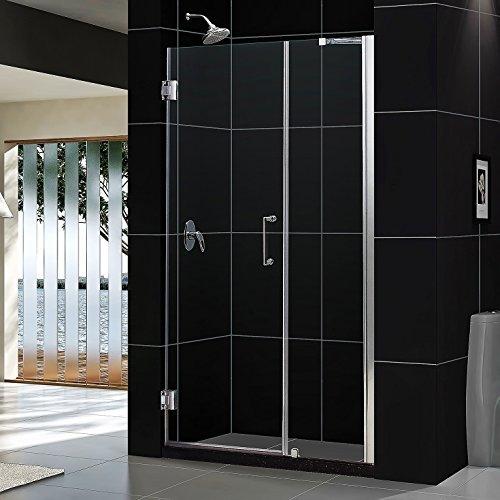 """Unidoor 47 to 48"""" Frameless Hinged Shower Door, Clear 3/8"""" Glass Door, Chrome"""