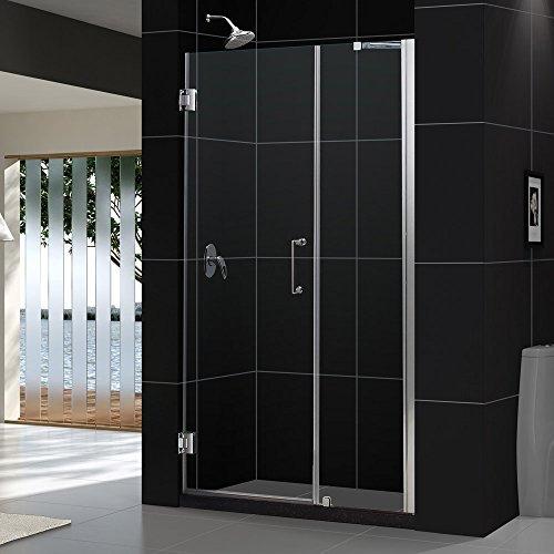 """Unidoor 47 to 48"""" Frameless Hinged Shower Door, Clear 3/8"""" Glass Door, Brushed Nickel"""