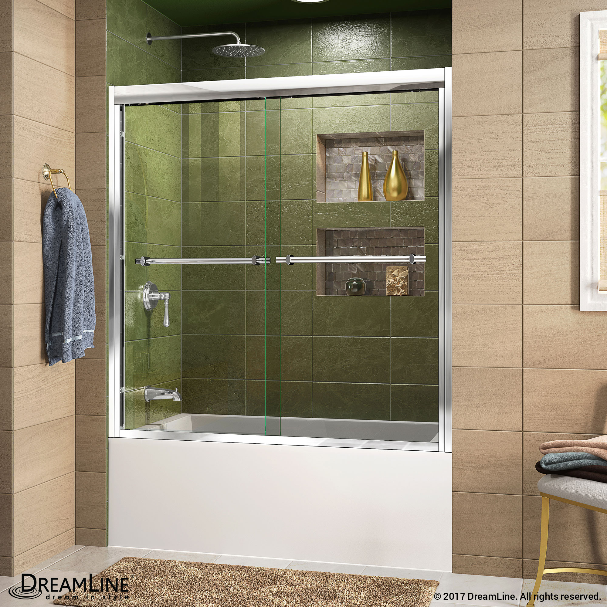 "Duet 56 to 60"" Frameless Bypass Sliding Shower Door, Clear 5/16"" Glass Door, Brushed Nickel"