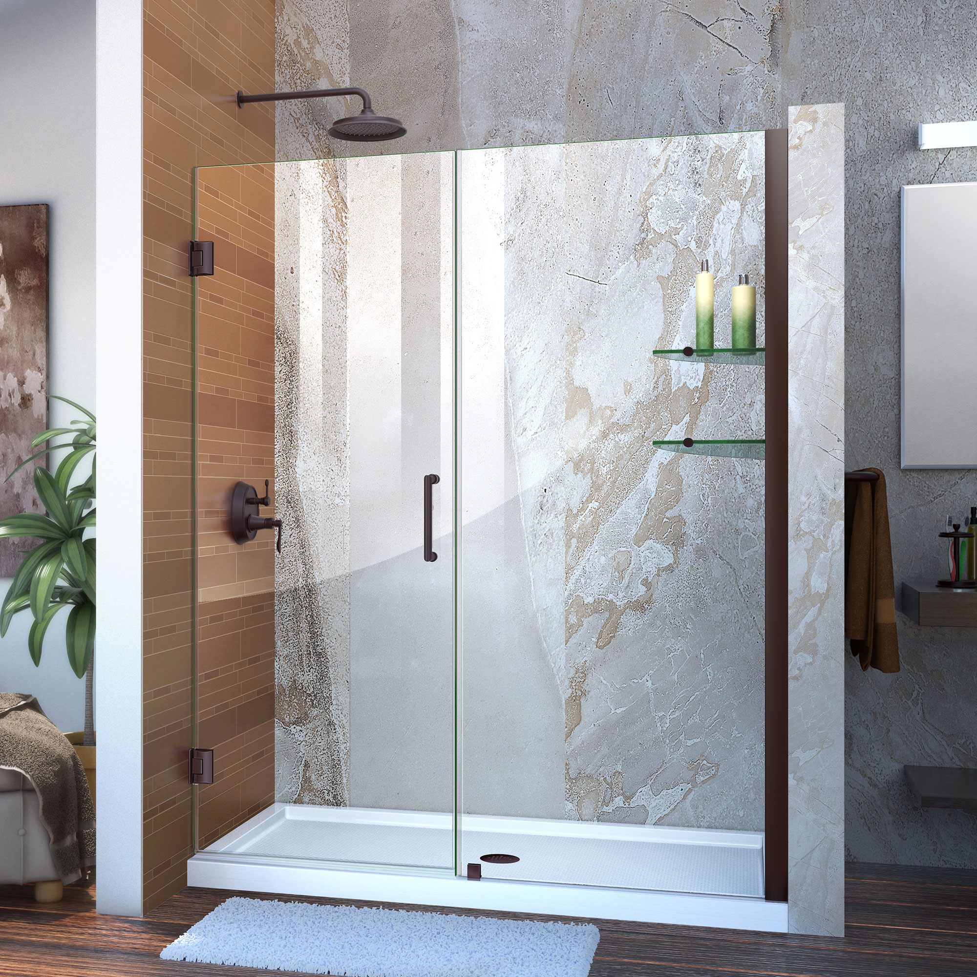 "Unidoor 58 to 59"" Frameless Hinged Shower Door, Clear 3/8"" Glass Door, Brushed Nickel"